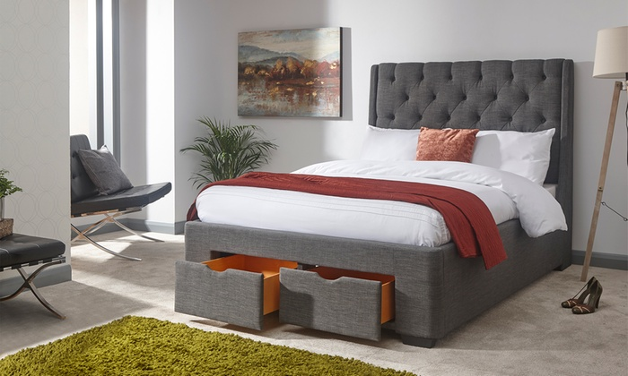 Boutique Buttoned Drawer Storage Bed with Optional Luxury Bonnell Mattress