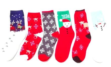 Six Christmas-Design Socks