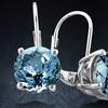 1.65 CTW Genuine London Blue Topaz Leverback Earrings