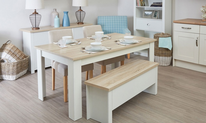 Groupon Goods Global GmbH Small Or Large St Ives Dining Table With Benches Chairs
