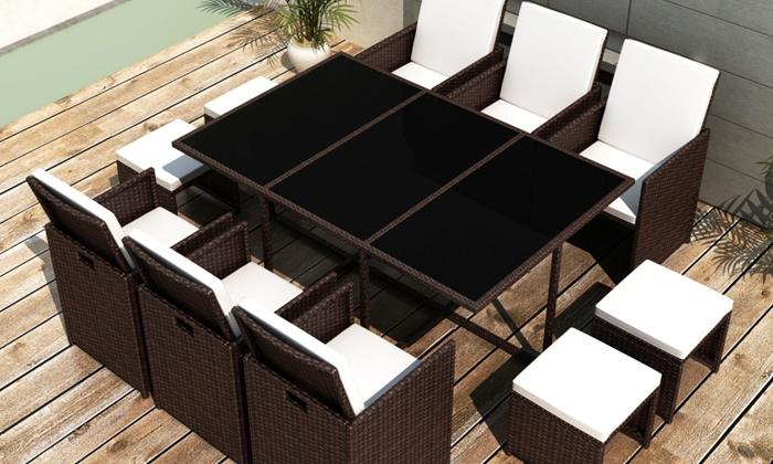 Wicker Eettafel Set Met 8 Stoelen En 4 Krukken Zwart.Rotan Eetkamerset Groupon Goods