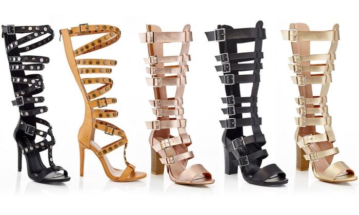 Knee High Gladiator Sandals Heels
