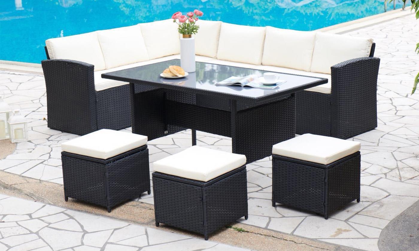Rattan-Effect Corner Group Sofa Set (£499.99)