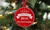 2712 Designs: One, Two, or Three Personalized Plastic Holiday Ornaments from 2712 Designs (Up to 67% Off)