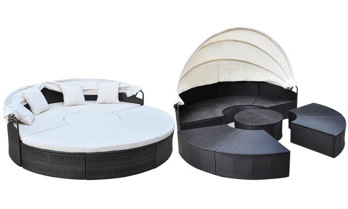 bain de soleil en rotin synth tique groupon. Black Bedroom Furniture Sets. Home Design Ideas