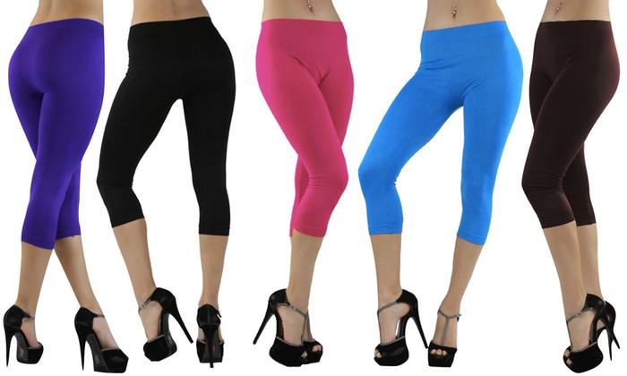 Women's Seamless Capri Leggings (6-Pack)