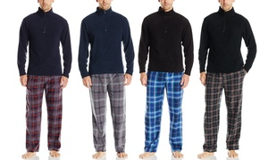 Men's Microfleece L/S Quarter Zip Pajama Top and Plaid Pants Set