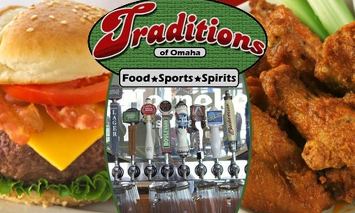 Traditions Food, Sports, and Spirits - Central Omaha: $10 for $20 Worth of Food and Drinks at Traditions Food, Sports, and Spirits