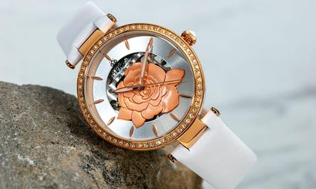 Reloj automático de cuero auténtico de la marca Empress con diseño semiesqueleto, modelo Anne