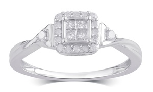 1/4 CTTW Princess Diamond Square Frame Ring in Sterling Silver at 1/4 CTTW Princess Diamond Square Frame Ring in Sterling Silver, plus 6.0% Cash Back from Ebates.