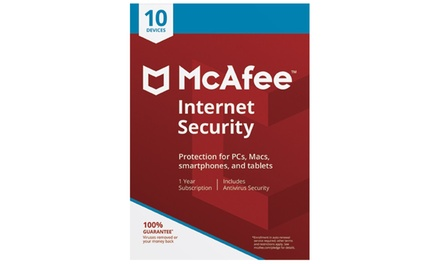 McAfee Internet Security 2018 for Ten Devices - 1 Year License Downadloable Software