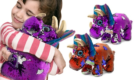PMS Triceratops Sequin Plush Toy