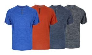 Men's Short-Sleeved Printed Melange Henley Tee