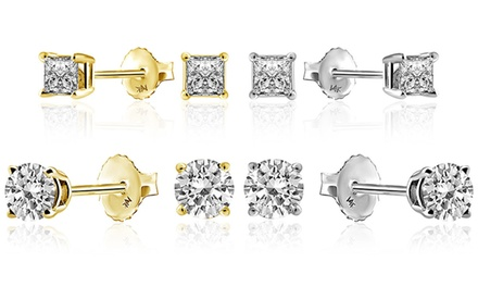 1.5 CTTW Diamond Stud Earrings in 14K Gold by Brilliant Essence Classic Collection