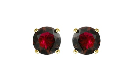 1.65 CTTW Genuine Garnet Stud Earrings in Solid 14K Gold