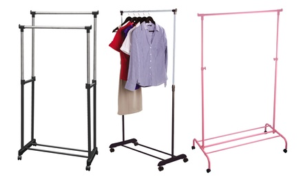 One or Two Single or Double Garment Racks in Choice of Colours
