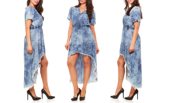 Red Jeans Women\'s High-Low Acid-Wash Denim Dress (Sizes XL ...