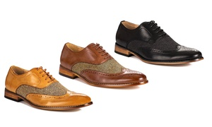 Gino Vitale Men's Wing-Tip Brogue Herringbone Dress Shoes