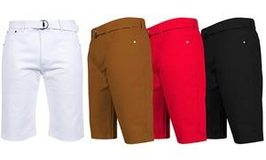 """1738 Dynasty Men's Bull Denim 13"""" Belted Shorts- Extended Sizes Avail."""