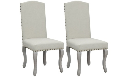 Button Tufted Victorian Nail Head Accented Beige Dining Chair (Set of 2)