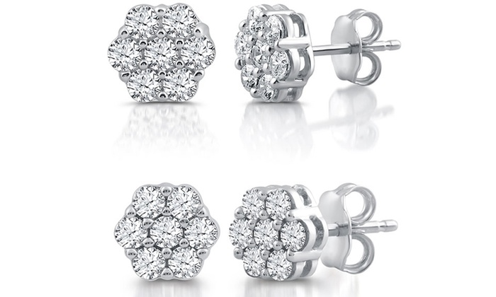 f3b19369c 1/2 or 1 CTTW Diamond Composite Stud Earrings In Sterling Silver