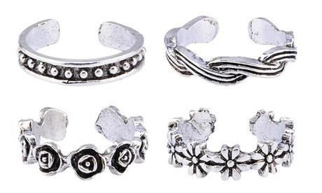 Hasta 4 sets anillos para pie de plata de ley