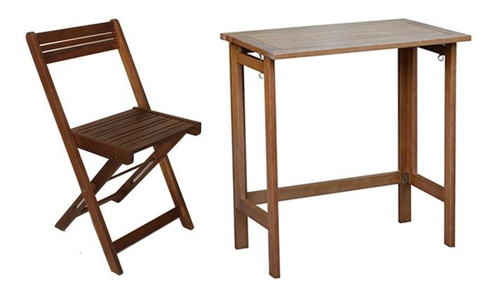 Tavolo Da Terrazzo Pieghevole : Set da balcone in legno di acacia groupon goods