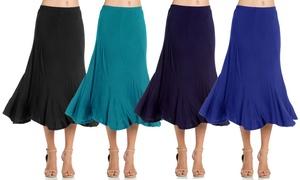 Women's Elastic Waist A-Line Ruffle Skirt