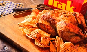 Pollo Trak: Desde $199 por menú: 1 o 2 pollos + 2 o 4 guarniciones a elección en todas las sucursales de Pollo Trak
