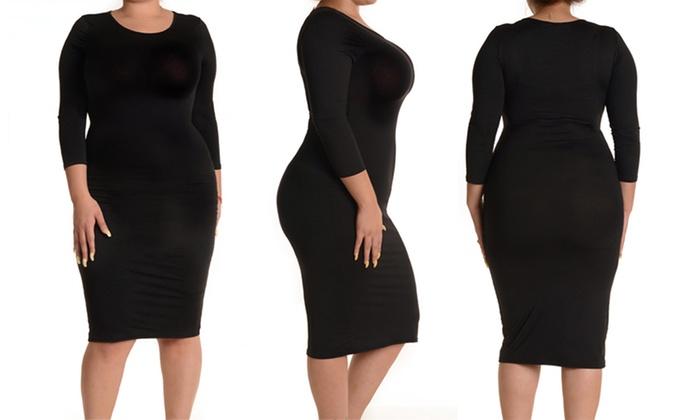 Womens Plus Size 34 Sleeve Midi Bodycon Dress Groupon