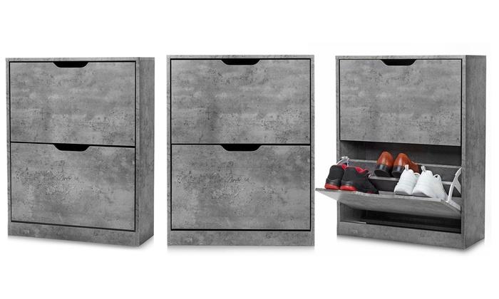 Homekraft Concrete-Effect Shoe Cabinet