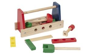 Locomotive en bois et casier à outils
