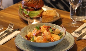 Chalkboard Cafe: Dinner: Burger or Pasta with Drink for 1 ($25.50), Two ($51) or Four People ($102) at Chalkboard Cafe (Up to $102 Value)