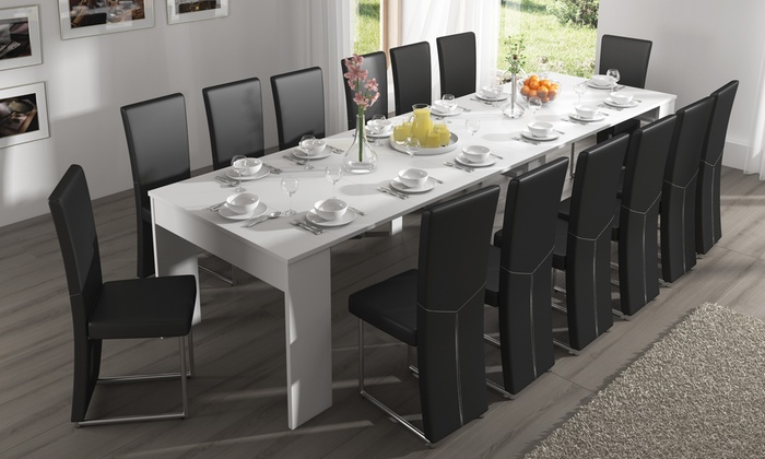 extending dining table console groupon goods. Black Bedroom Furniture Sets. Home Design Ideas