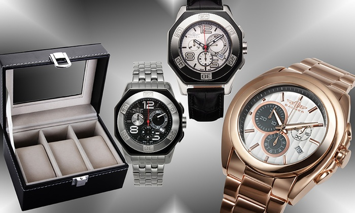 Balmer Men's Swiss Chronograph Watch Collection with 3-Count Box