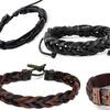 Five Men's Faux Leather Bracelets