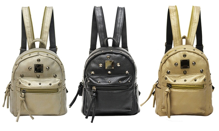 Mini Zip-Studded Backpack