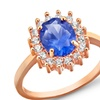 3.50 CTW Blue Spinel and Cubic Zirconia Ring in Rose Gold Plating