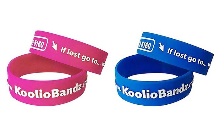 KoolioBandz Children's Identity Wristbands Blue Age 6-10 New Pack Of 2 Bands