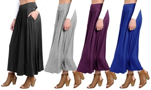 Faca Women's High Waist Shirring Ankle-Length Maxi Skirt with Pockets