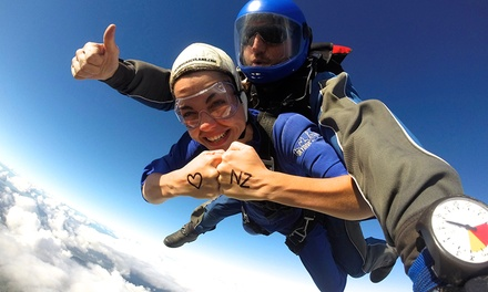 Tandem Skydive: 9,000ft for 1 ($290) or 2 ($580), or 13,000ft for for 1 ($320) or 2 People ($640) with Skydive Auckland