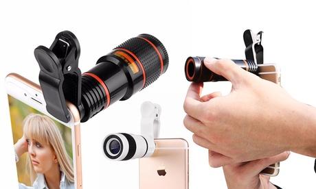 1 o 2 lentes zoom con pinza para smartphones