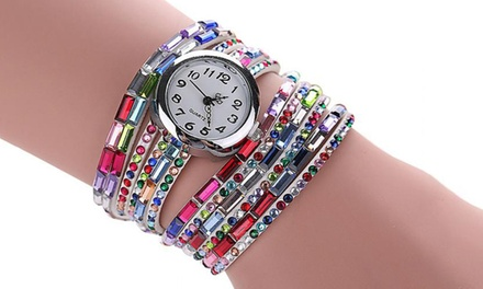 Colourful Wrap-Around Watch with Crystals