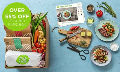 Recipe Box Subscription: HelloFresh Rapid Box containing three or four 20 minute meals (Up to 58% Off)