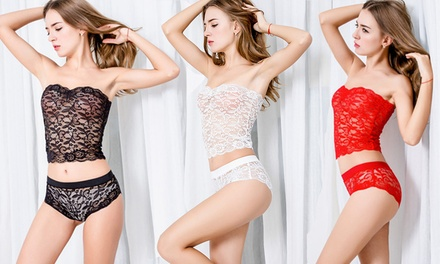 Women's Lace Bandeau and Underwear Set: One $15 or Two $25
