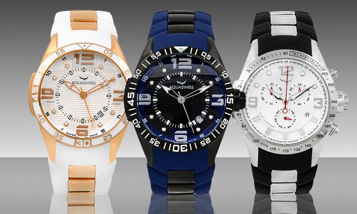 Aquaswiss Trax 3- or 6-Hand Watches: Aquaswiss Trax 3- or 6-Hand Watches. Multiple Styles Available. Free Shipping and Returns.