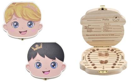 Boîte à dents de lait et cheveux en bois, modèle couleur pour fille et garçon
