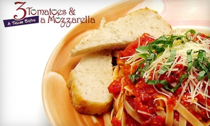 3 Tomatoes & a Mozzarella - Spring Valley: $10 for $20 Worth of Italian Fare and Drinks at 3 Tomatoes & a Mozzarella