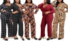 Women's 3/4 Sleeve Holiday Party Jumpsuit with Plus Sizes Available