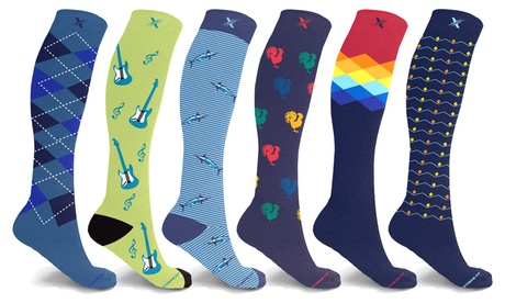 XTF Bold and Expressive Compression Socks for Men and Women (3 or 6 Pairs)